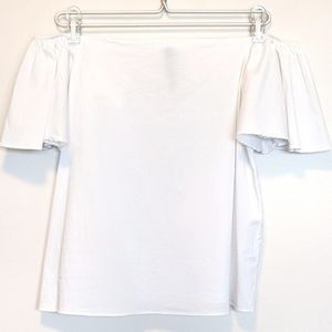 Lord Taylor white blouse  shirt L flounce sleeves